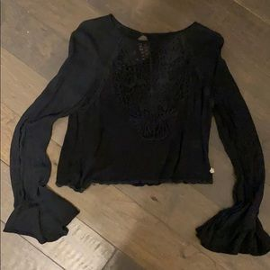 Cropped black lace top